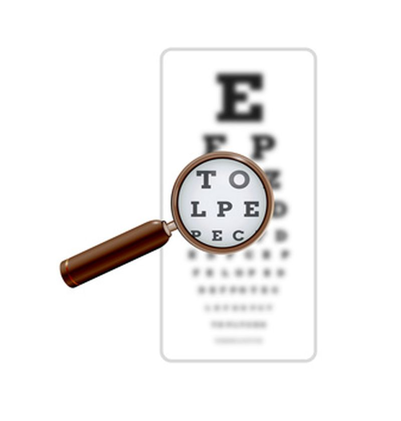 sharp and unsharp snellen chart with magnifying glass