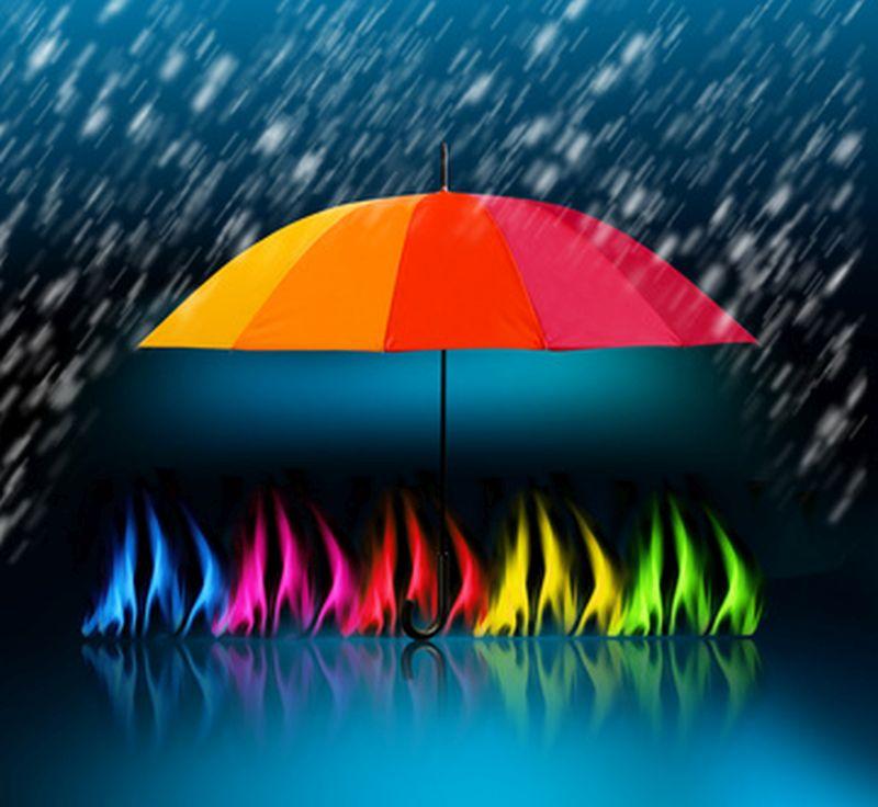 Schirm mit Bunten Flammen